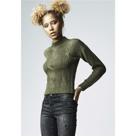 Urban Classics Ladies Short Turtleneck Sweater, olive