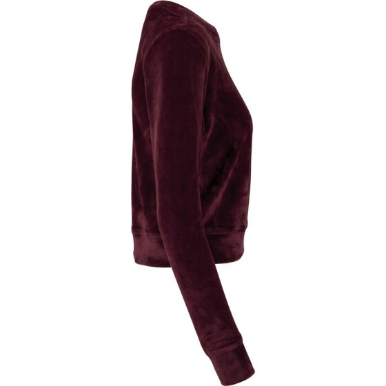 Urban Classics Ladies Short Velvet Crew, burgundy