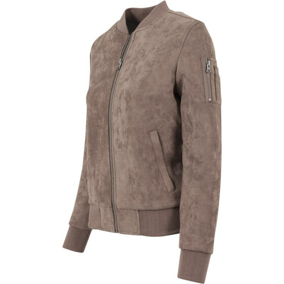 Urban Classics Ladies Imitation Suede Bomber Jacket, taupe