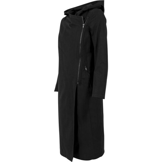 Urban Classics Ladies Peached Long Asymmetric Coat, black