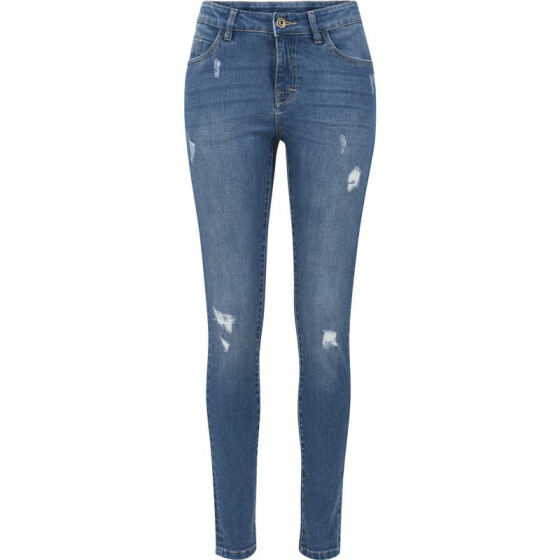 Urban Classics Ladies Ripped Denim Pants, blue washed