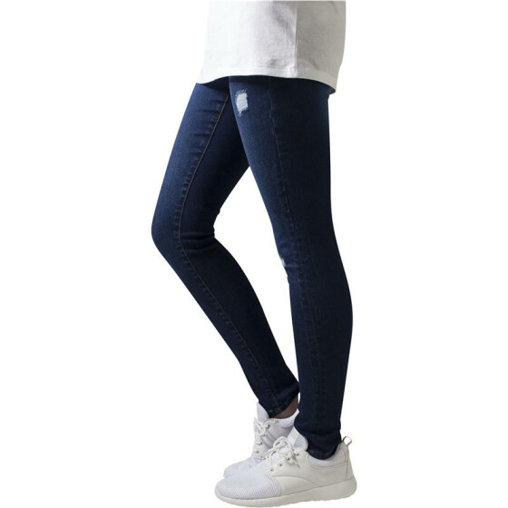 Urban Classics Ladies Ripped Denim Pants, darkblue