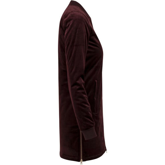Urban Classics Ladies Long Velvet Jacket, burgundy