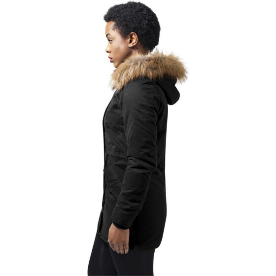 Urban Classics Ladies Sherpa Lined Peached Parka, black