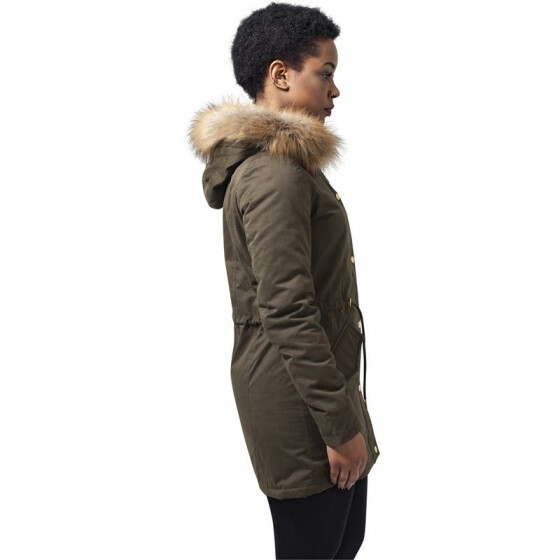Urban Classics Ladies Sherpa Lined Peached Parka, olive