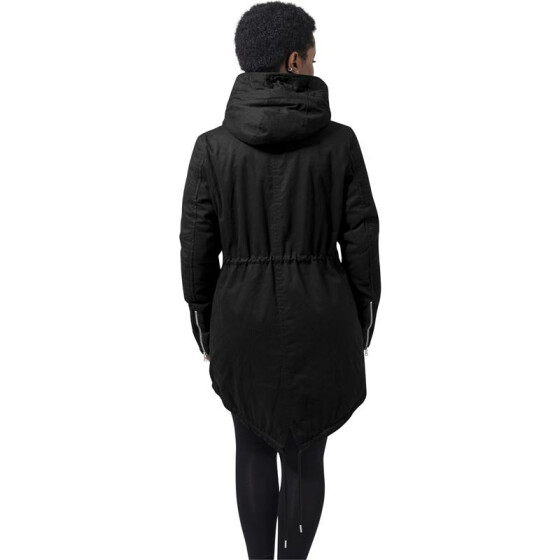 Urban Classics Ladies Sherpa Lined Cotton Parka, black