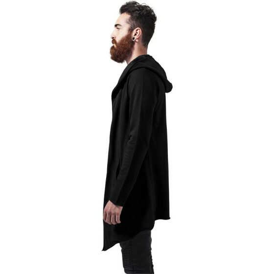 Urban Classics Long Hooded Open Edge Cardigan, black