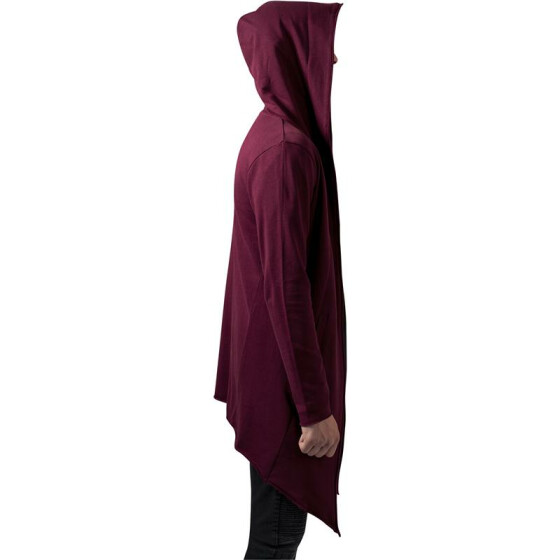 Urban Classics Long Hooded Open Edge Cardigan, burgundy