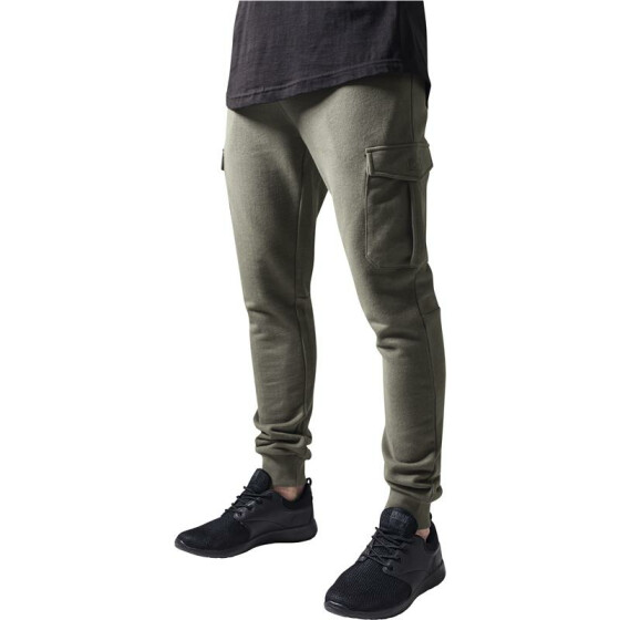Urban Classics Fitted Cargo Sweatpants, olive