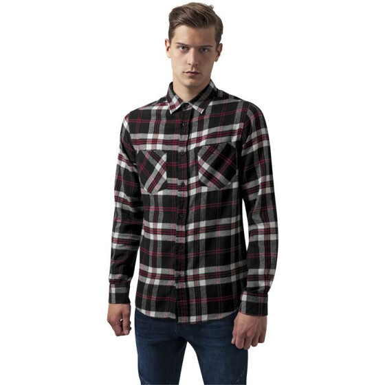 Urban Classics Checked Flanell Shirt 3, blk/wht/red