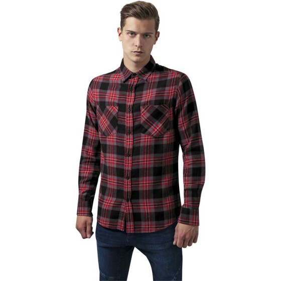 Urban Classics Checked Flanell Shirt 3, blk/gry/red