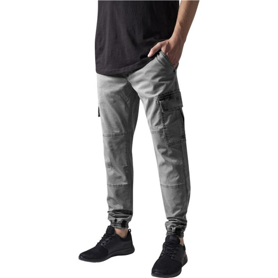 Urban Classics Washed Cargo Twill Jogging Pants, grey