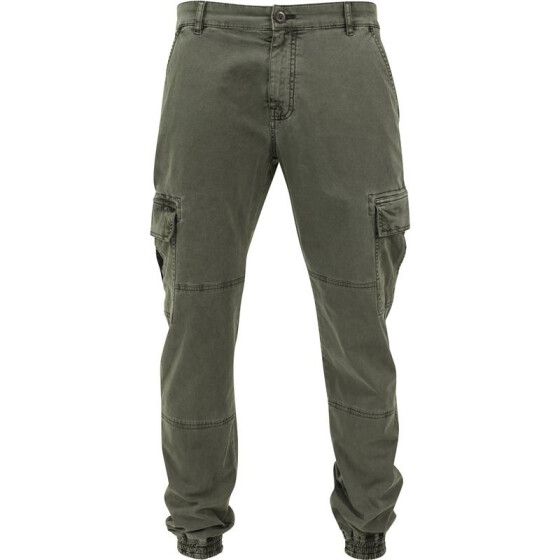 Urban Classics Washed Cargo Twill Jogging Pants, olive