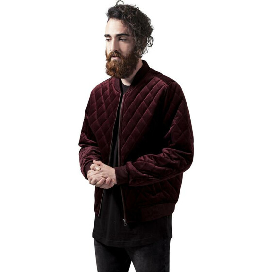 Urban Classics Diamond Quilt Velvet Jacket, burgundy