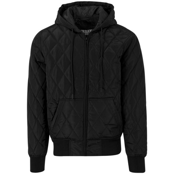 Urban Classics Hooded Big Diamond Quilt Jacket, black
