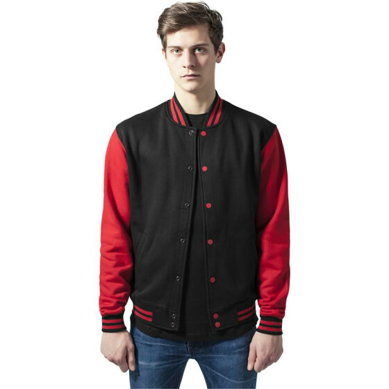 Urban Classics 2-tone College Sweatjacket, blk/red