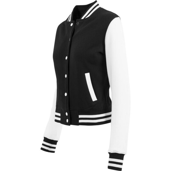 Urban Classics Ladies 2-tone College Sweatjacket, blk/wht