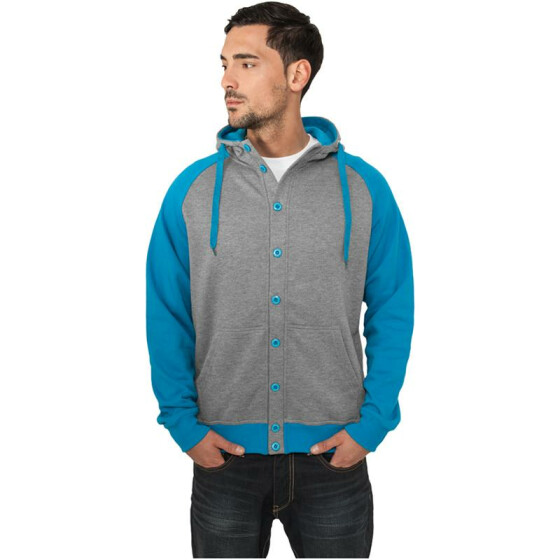 Urban Classics Light Fleece Button Hoody, gry/tur