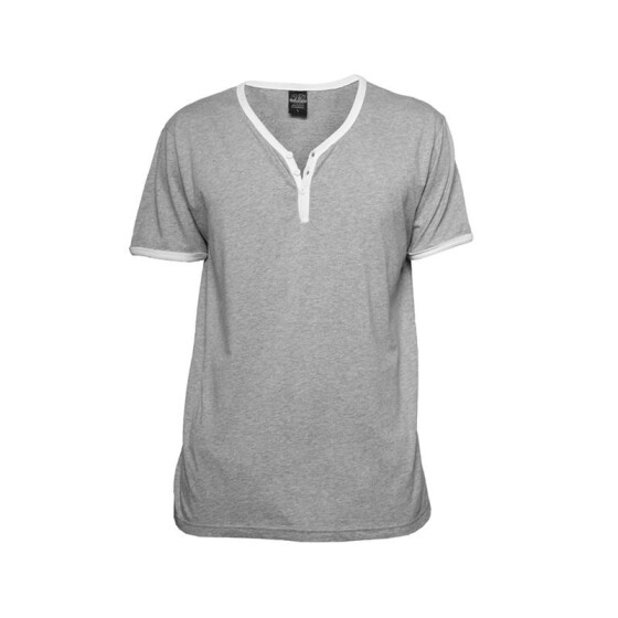 Urban Classics Contrast Henley Y-Neck Tee, gry/wht