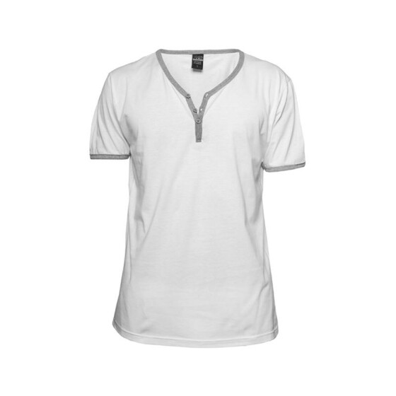 Urban Classics Contrast Henley Y-Neck Tee, wht/gry