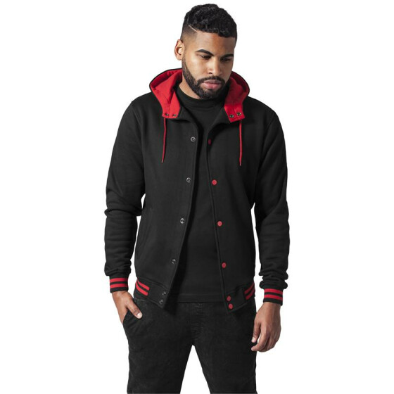 Urban Classics Hooded College Sweatjacket, blk/red