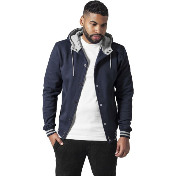 Urban Classics Hooded College Sweatjacket, nvy/gry
