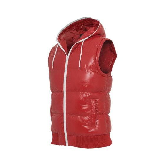 Urban Classics Hooded Bubble Vest, red/wht