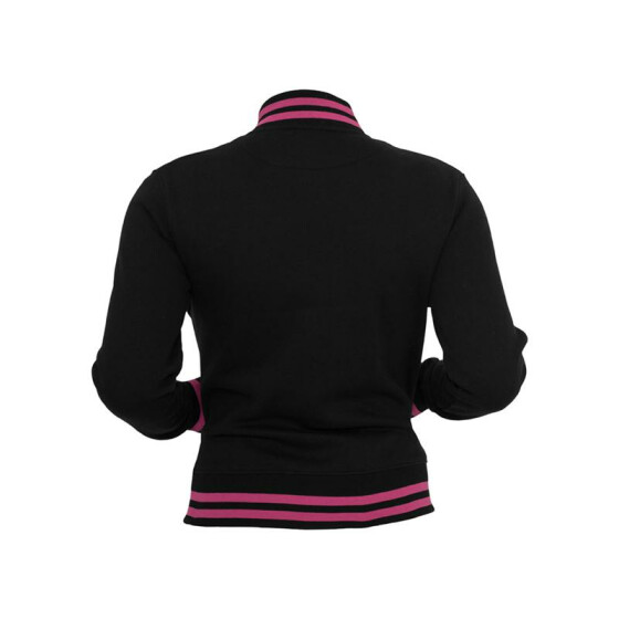 Urban Classics Ladies Metallic College Sweatjacket, blk/fuc