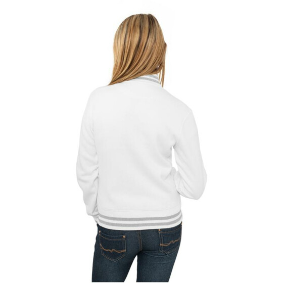 Urban Classics Ladies Metallic College Sweatjacket, wht/sil