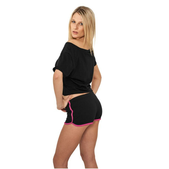 Urban Classics Ladies French Terry Hotpants, blk/fuc