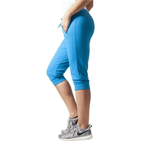 Urban Classics Ladies French Terry Capri, turquoise