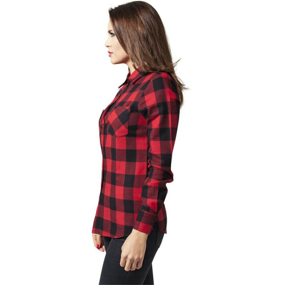 Urban Classics Ladies Checked Flanell Shirt, blk/red