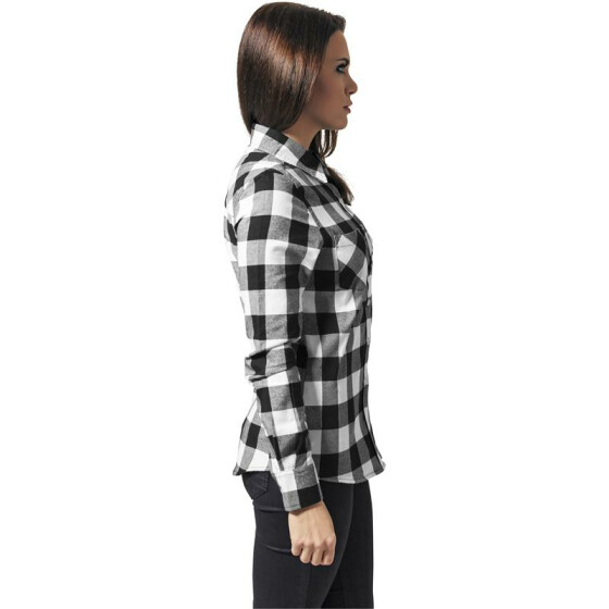 Urban Classics Ladies Checked Flanell Shirt, blk/wht