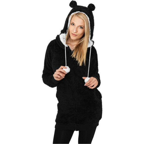 Urban Classics Ladies Long Teddy Zip Hoody, blk/wht