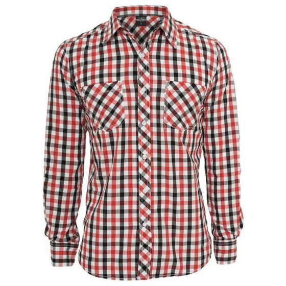 Urban Classics Tricolor Big Checked Shirt, blkwhtred