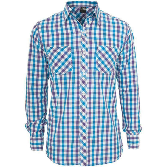 Urban Classics Tricolor Big Checked Shirt, purwhttur