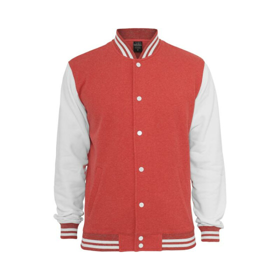 Urban Classics Melange College Sweatjacket, red/wht