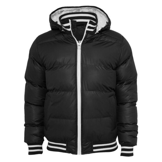 Urban Classics Shiny 2-tone Hooded College Bubble Jacket, black