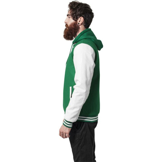 Urban Classics Hooded Oldschool College Jacket, grn/wht