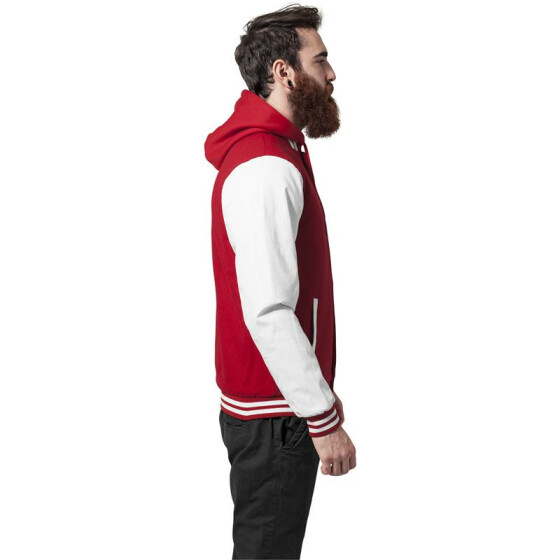 Urban Classics Hooded Oldschool College Jacket, red/wht