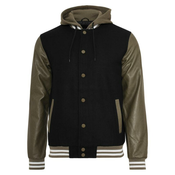 Urban Classics Hooded Oldschool College Jacket, blk/gre