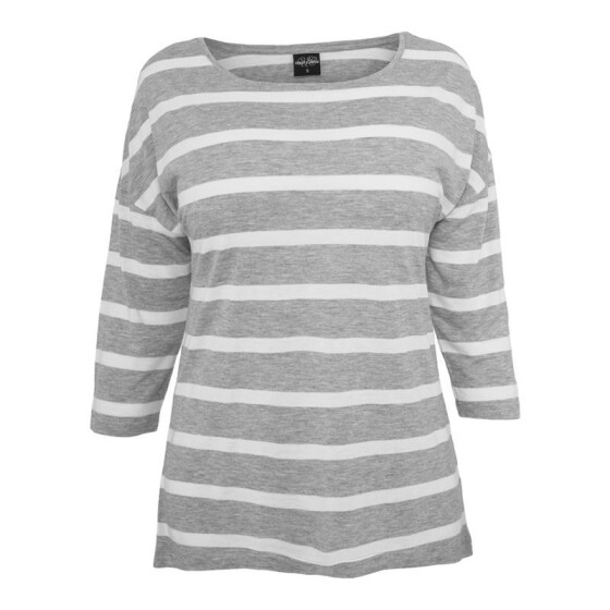 Urban Classics Ladies Loose Striped Tee, gry/wht