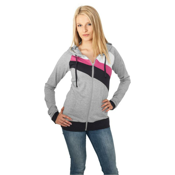 Urban Classics Ladies 3 Color Jersey Ziphoody, gry/nvy/fu
