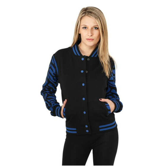 Urban Classics Ladies Zebra 2-tone College Sweatjacket, roy/blk