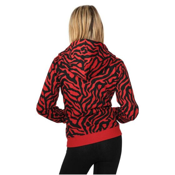Urban Classics Ladies Zebra Ziphoody, red/blk