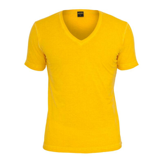 Urban Classics Spray Dye V-Neck Tee, yellow