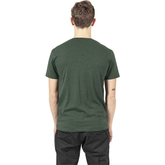 Urban Classics Melange V-Neck Pocket Tee, forestgreen/blk