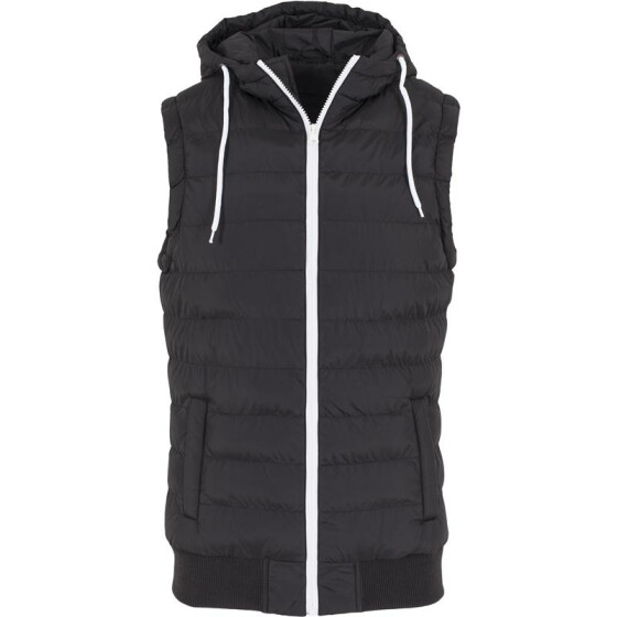 Urban Classics Small Bubble Hooded Vest, blk/wht