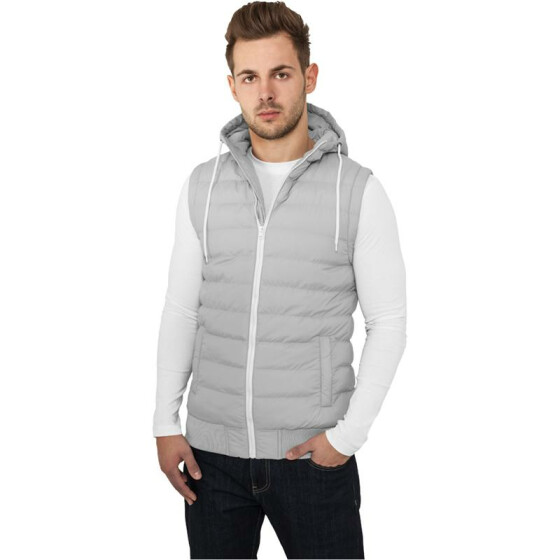 Urban Classics Small Bubble Hooded Vest, gry/wht