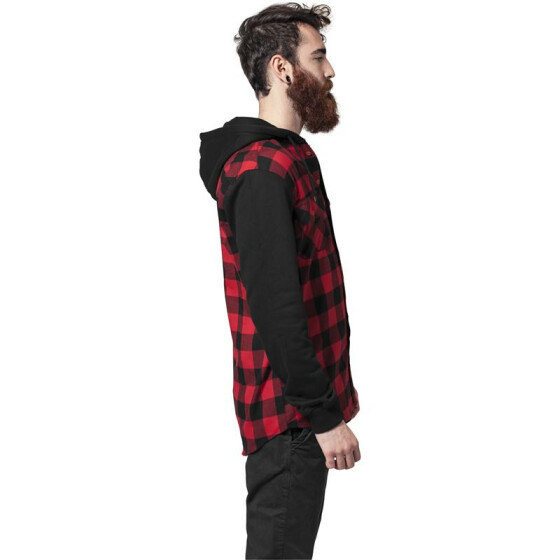 Urban Classics Hooded Checked Flanell Sweat Sleeve Shirt, blk/red/bl